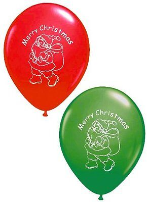 16 Pack Of Merry Christmas Santa Balloons - Party Decoration Green & Red