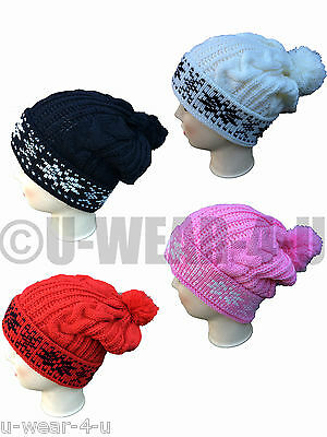 Mens Ladies Unisex Fashionable Chunky Knit Warm Bobble Hat Winter Fairisle Ski