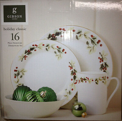 GIBSON HOLIDAY CLASSIC 16 Piece Dinnerware set (New in Box) - $89.95 ...