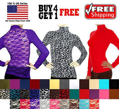Soft Seamless Stretch Long Sleeve Turtleneck Shirt Mock High Neck Top Slim Fit