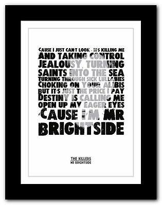 ❤ THE KILLERS - Mr Brightside ❤ lyric typography poster art print A1 A2 A3 or A4