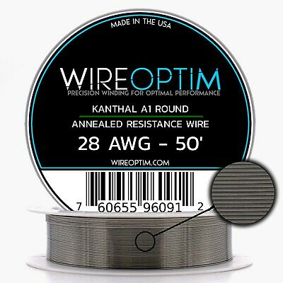 Kanthal 28 Gauge AWG A1 Wire 50ft Roll .32004mm , 5.27 Ohms/ft Resistance