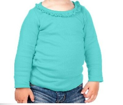 Blank Ruffle Trimmed Girls One Piece Creeper T Shirt 100/% Cotton Long Sleeved
