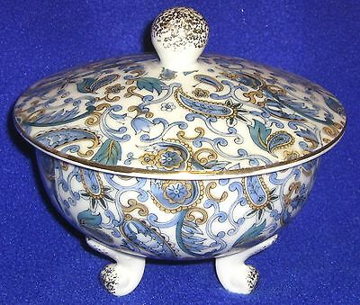 Blue, Gold and White Lefton Covered Three-Footed Candy Dish - SHIPPING INCLUDED
