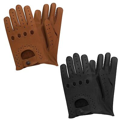 Men's top quality real soft leather driving slim fit retro gloves black tan 505