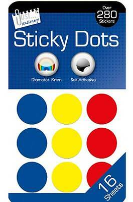 18mm Coloured Dots Round Sticker Sticky Adhesive Spot Circle Labels Multi-Colour