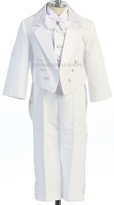 New 5 Piece Ring Boys Round Tail White Tuxedo Christening Baptism Attire Wedding