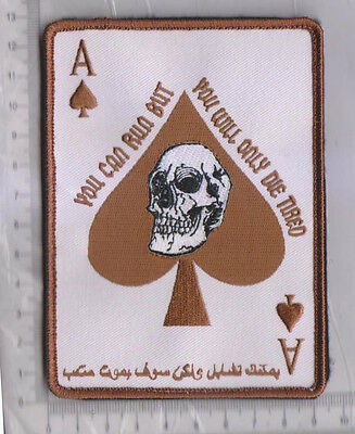 ARABIC ACE OF SPADES DEATH CARD TACTICAL BADGE MORALE VELCRO MILITARY PATCH DSRT