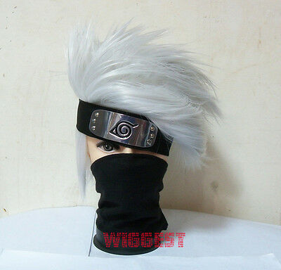 Silver Naruto Hatake Kakashi Cosplay Wig + Headband + Mask Veil 3 Pcs in 1 Set