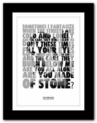 THE STONE ROSES Made Of Stone ❤ lyric typography poster art print A1 A2 A3 or A4