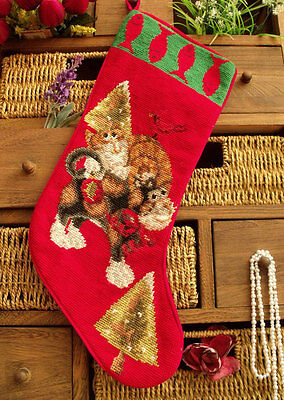 Vtg Completed Needlepoint Christmas Stocking GIFT~ Fish Bird Tree UNIQUE NEW