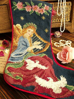 Vtg Completed Needlepoint Christmas Stocking GIFT~Fairy Angel Pigeon Roses Music