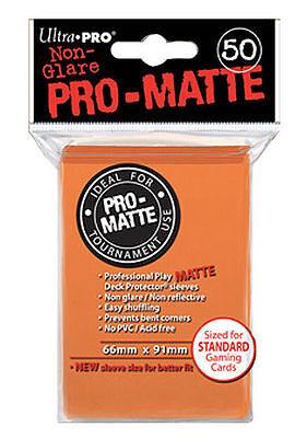 50 Count Orange Ultra Pro Matte Deck Protector Card Sleeve Non-Glare Pokemon MTG