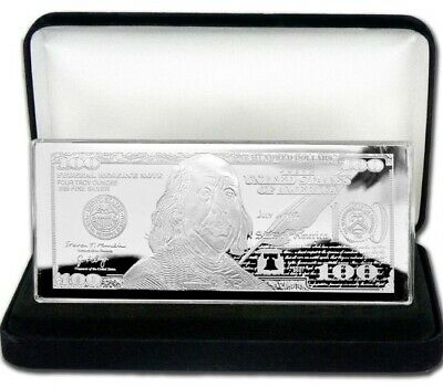 2019 PROOF 4 oz CURRENCY SILVER BAR FRANKLIN $100 + VELVET BOX + AIR-TITE + COA