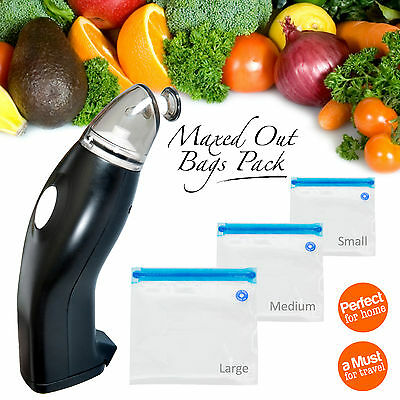 Vaclock Handheld Food Vacuum Sealer 30 x Reusable Cryovac Vacuum Sealer Bags