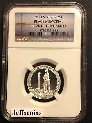 2013 S Mint NGC PF70 Silver Proof Perrys Victory Int'l Peace Ultra Cameo Quarter