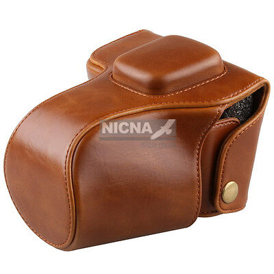 Leather Camera Case Bag Cover For Olympus PEN E-PL3 EPL3 EPM1 E-PM1 14-42mm lens