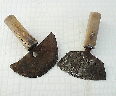 VINTAGE LOT OF 2 HAND FORGED PRIMITIVE handmade WOOD HANDLE * VERY OLD PRIMITIVE