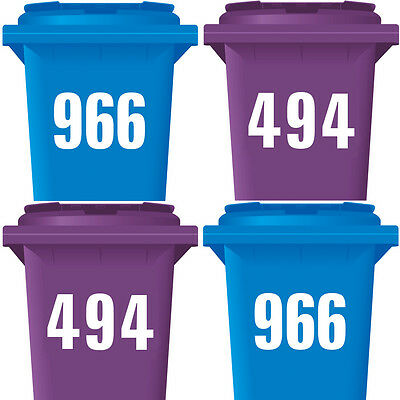"""3 Pack WHEELIE BIN NUMBERS WHEELY NUMBER STICKERS 3 x WHITE 7"""" FOR BLACK DUSTBIN"""