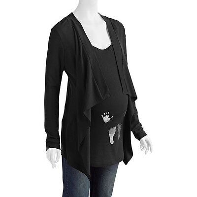 New Womens Maternity Hands & Feet Long-Sleeve Cardigan 2-Fer Size S M L XL