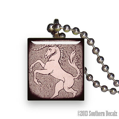 Unicorn Horse One Horn Rearing - Scrabble Tile Pendant Necklace Jewelry - P253