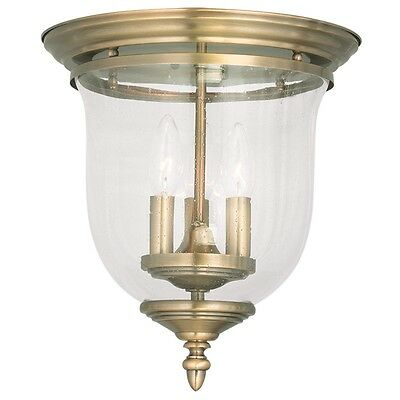 Antique Brass 3 Light Livex Victorian Legacy Ceiling Mount Lighting Lamp 5024-01