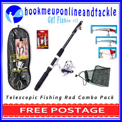 2 x Telescopic Rod and Reel Combo Kit with Accessories Fishing Tackle Spinning