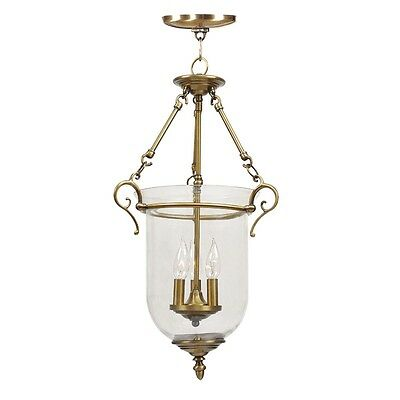 3 Light Victorian Livex Legacy Antique Brass Pendant Chain Hang Lighting 5022-01