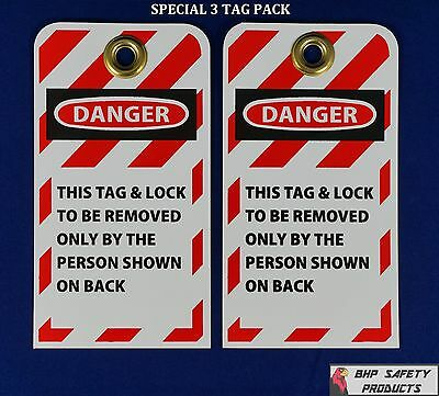 "Lockout Tags  ( Special 3 Pack ) W/ 3/8"" Brass Grommet Safety Lockout Tagout Tag"