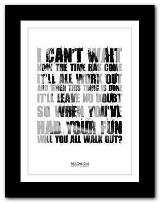 THE STONE ROSES Shoot You Down ❤ lyric typography poster art print A1 A2 A3  A4