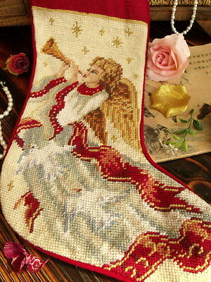 Vtg Completed Needlepoint Christmas Stocking GIFT~Fairy Angel Musical Instrument