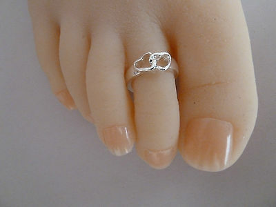 2x 925 Sterling Silver (plated) Toe Ring, ALLERGY FREE, Womens jewelry, HEARTS