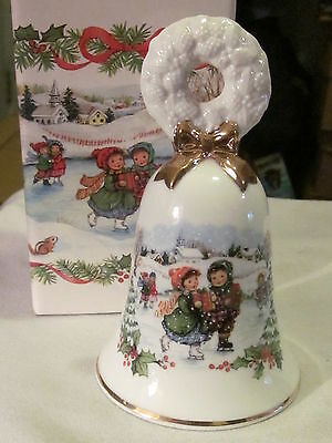 Vint.Christmas Bell - White Porcelain Bell with Gold Trim 5in T 1986 In Org. Box