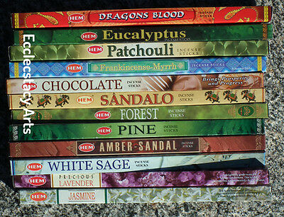 Hem Assorted Incense Sampler 12 Boxes x 8 Stick = 96 Incense Sticks Bulk Lot {:-