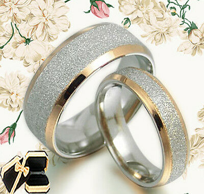 US His and Her 18K Gold Filled Titanium Wedding rings Set AB008