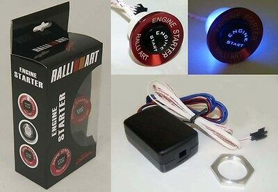 RALLIART Red Push Button Ignition Engine Start Starter Switch Kit Blue Led RB-3
