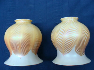 Pair of Steuben Decorated Art Glass Lamp Shades