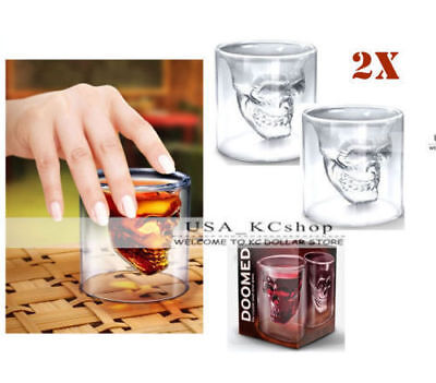 2packSkull Head Vodka Whiskey Tequila Shot Glass Drinking Cup Ware Home Bar