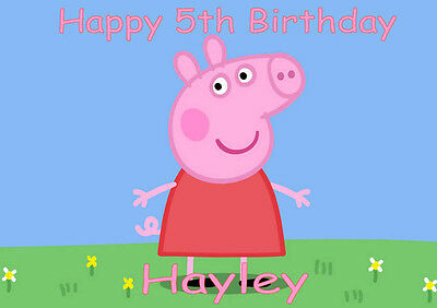 Personalised A4 Peppa Pig Edible Icing Sheet Cake Topper