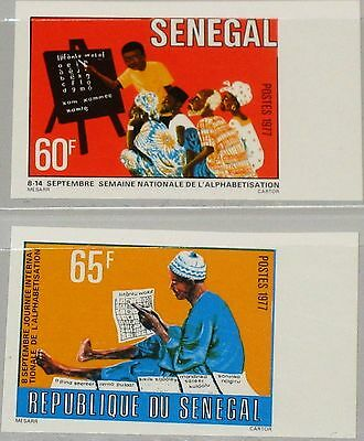 SENEGAL 1977 639-40 U 454-55 imperf Natl. Litarecy Week Education Bildung MNH