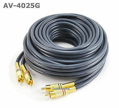 25ft RCA Male to Male Cable Gold Plated Black