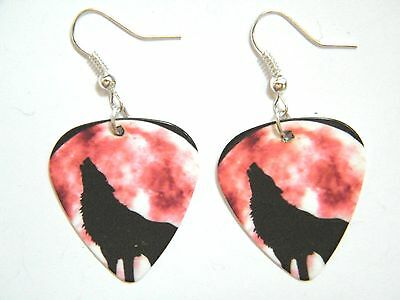 Wolf Earrings Howling At Red Moon! Gray Wolves Pick Silver Plated Ear Wires New!