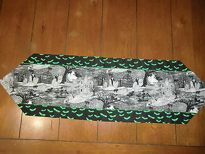 Halloween Table Runner - Haunted Houses/Skeltons/Witches/Green Bats