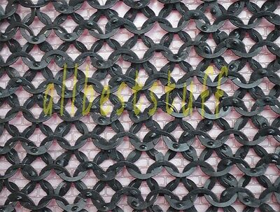 Chain Mail Sheet Flat Wedge Riveted Riveted Rings Black- SHEET Only