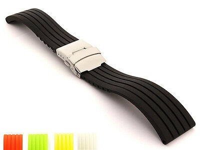 Silicone Rubber Watch Strap Band Waterproof Deployment Clasp 18 20 22 24 GS MM