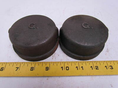 "Grinnell 2-1/2"" NPT Black Pipe Cap Class 150 Malleable Iron Lot of 2 USA"