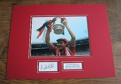 NORMAN WHITESIDE Manchester United HAND SIGNED Autograph Photo Mount + COA