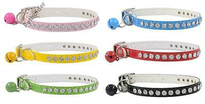 Dog Pet Cat Collar Puppy Pu Leather Small Crystal Diamonds With Cute Bell
