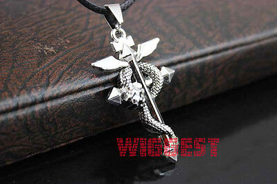 Silver Fullmetal Alchemist Edward Elric Snake Cross Pendant Necklace Cosplay