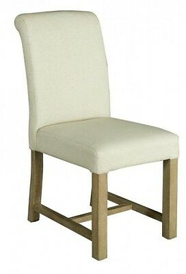 Beautiful Alice White Fabric Dining / Side Chair with Wooden Legs